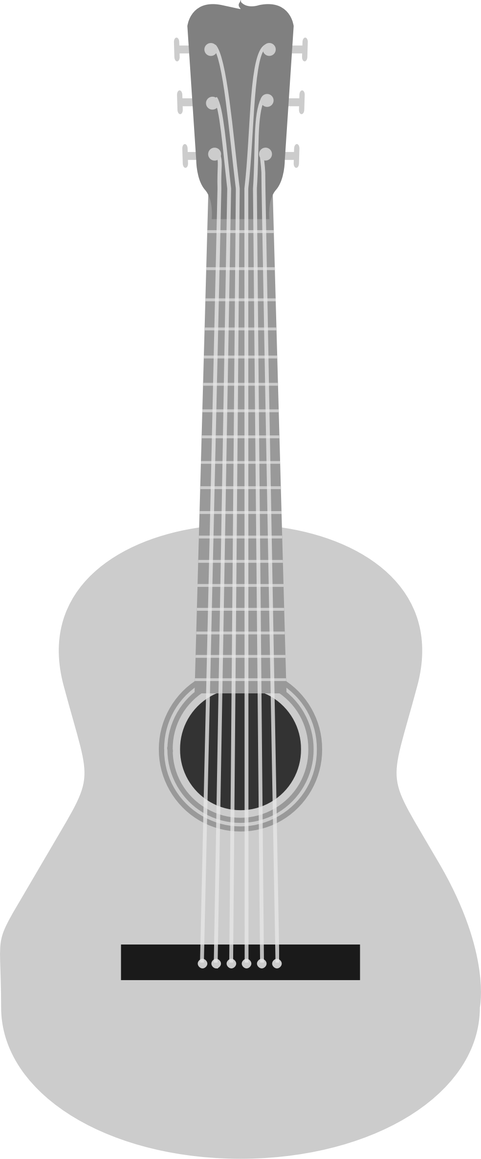 Silver Vector Acoustic Guitar PNG