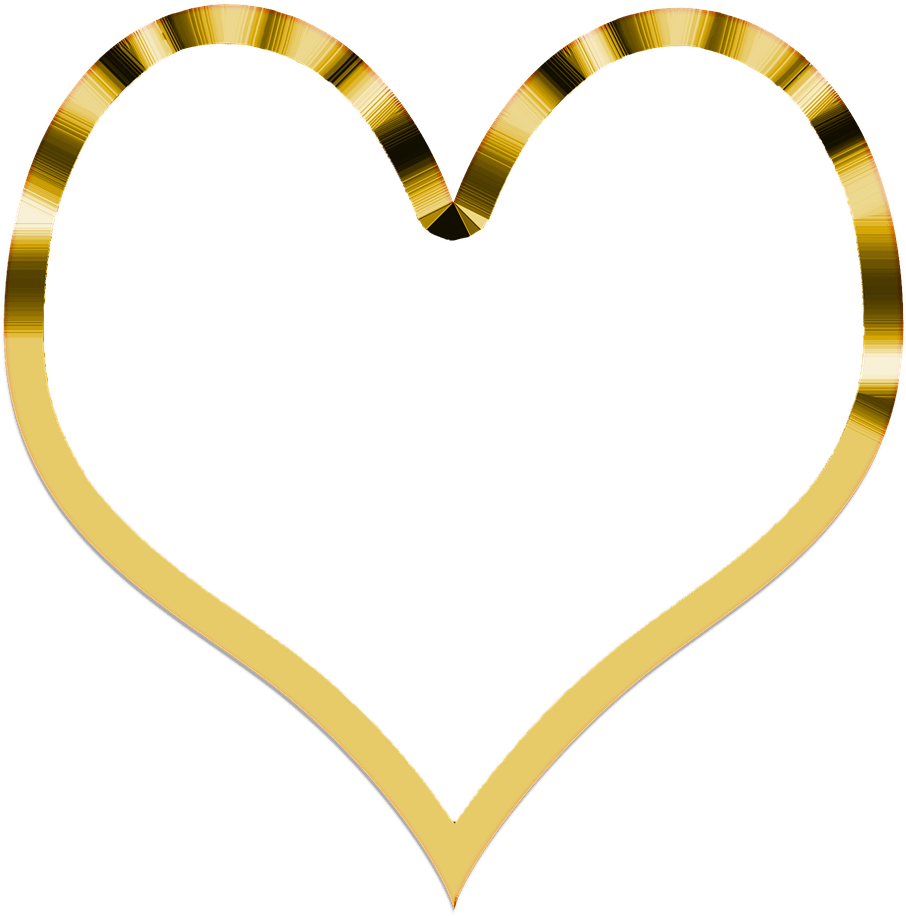 Shiny Gold Heart PNG Clipart