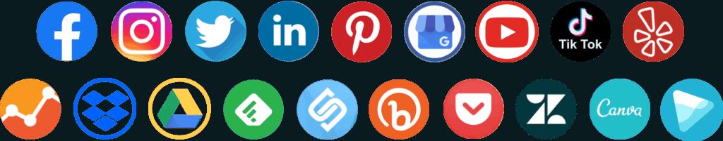 Social Media Circle Set PNG Photos